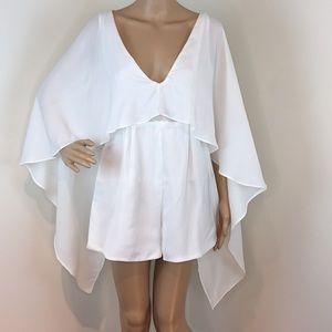 White cape romper
